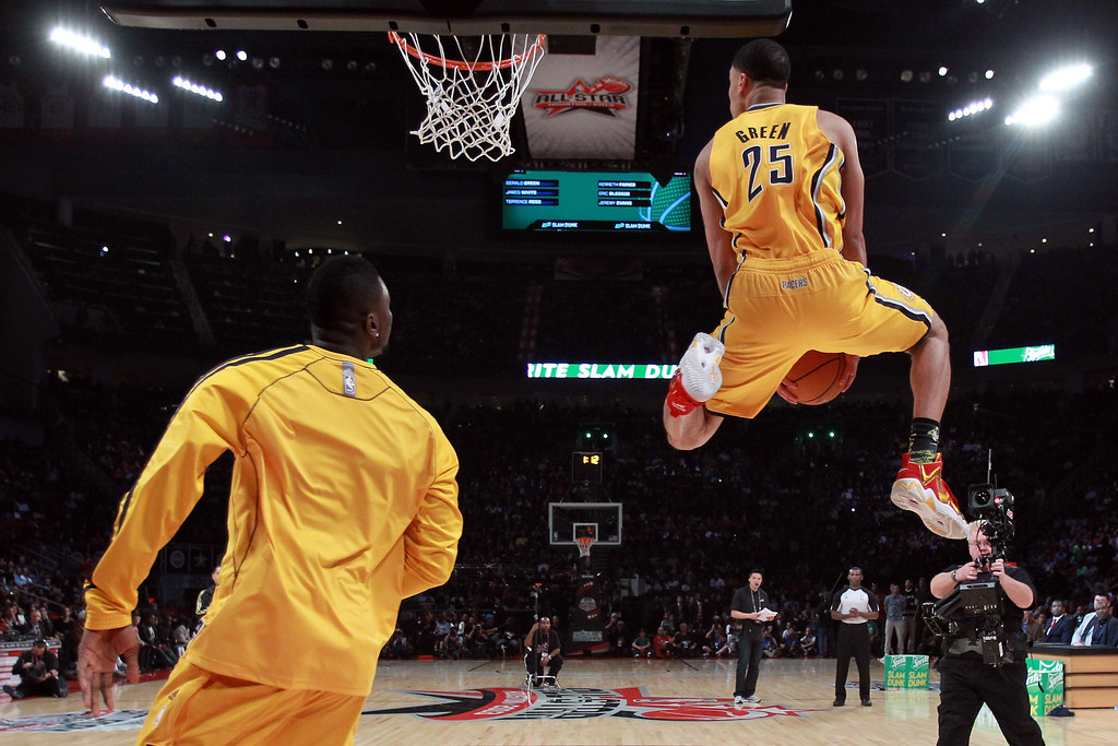 . HOUSTON, TX - FEBRUARY 16:  Gerald Green of the Indiana Pacers goes up for a dunk in the first round during the Sprite Slam Dunk Contest part of 2013 NBA All-Star Weekend at the Toyota Center on February 16, 2013 in Houston, Texas.   (Photo by Ronald Martinez/Getty Images)