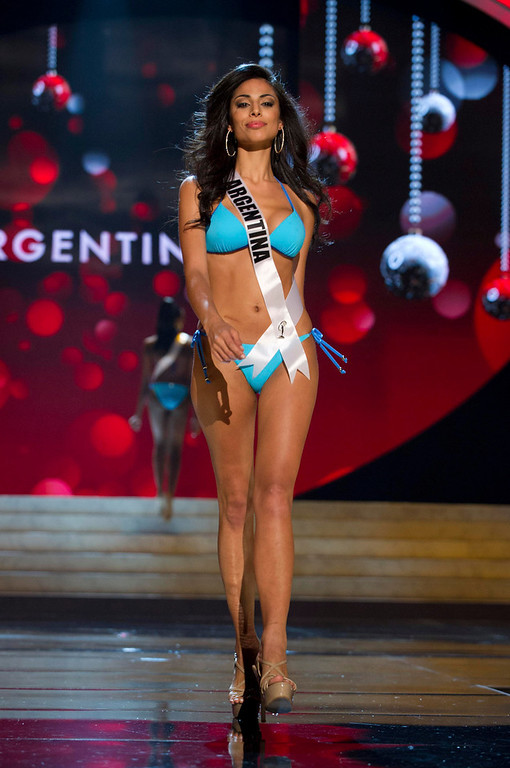 . Miss Argentina 2012 Camila Solorzano competes during the Swimsuit Competition of the 2012 Miss Universe Presentation Show at PH Live in Las Vegas, Nevada December 13, 2012. The Miss Universe 2012 pageant will be held on December 19 at the Planet Hollywood Resort and Casino in Las Vegas. REUTERS/Darren Decker/Miss Universe Organization L.P/Handout
