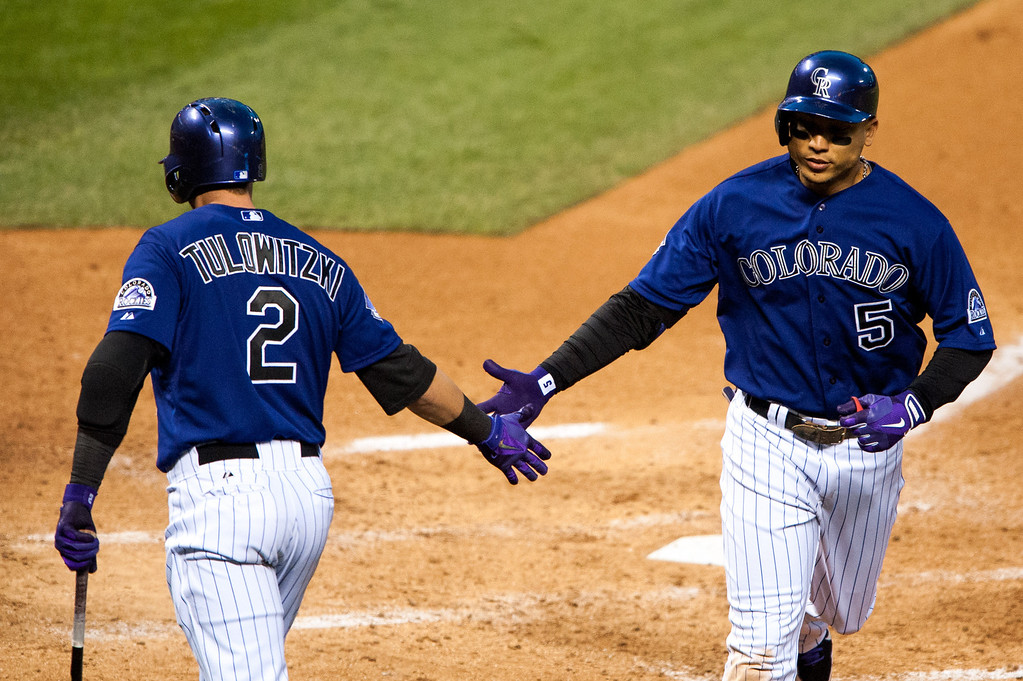 . DENVER, CO - MAY 4:  Carlos Gonzalez #5 of the Colorado Rockies celebrates a solo home run with Troy Tulowitzki #2 during the fifth inning of a game against the Tampa Bay Rays at Coors Field on May 4, 2013 in Denver, Colorado.  (Photo by Dustin Bradford/Getty Images)