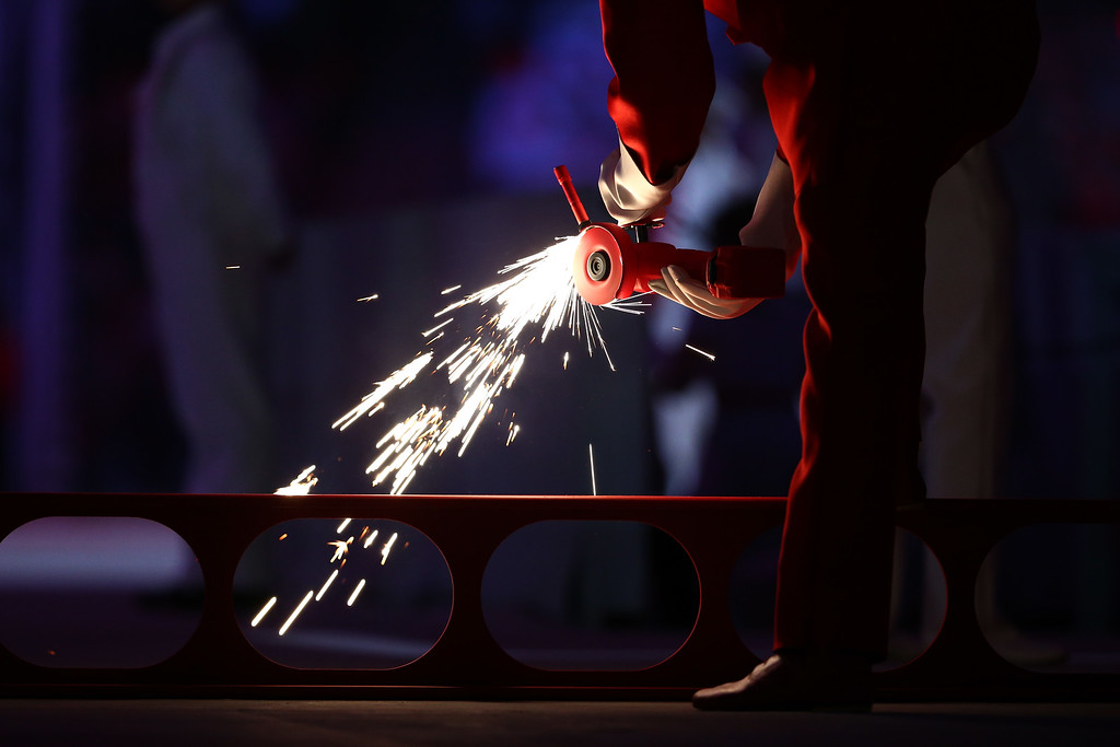 . Dancers perform Time Forward!/Suprematic Ballet during the Opening Ceremony of the Sochi 2014 Winter Olympics at Fisht Olympic Stadium on February 7, 2014 in Sochi, Russia.  (Photo by Ryan Pierse/Getty Images)