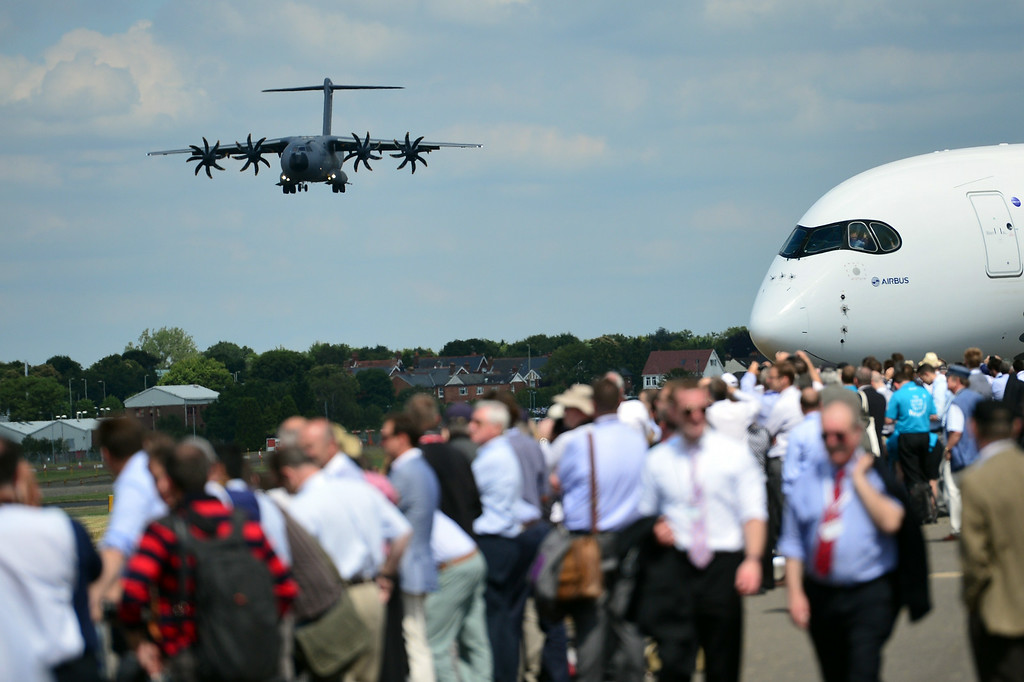 . An Airbus A400M military transport plane comes in to land during an air display on the second day of the Farnborough International Air show in Hampshire, England, on July 15, 2014. The biennial event sees leading companies from the aviation industry showcase their latest technology. AFP PHOTO / CARL COURT/AFP/Getty Images