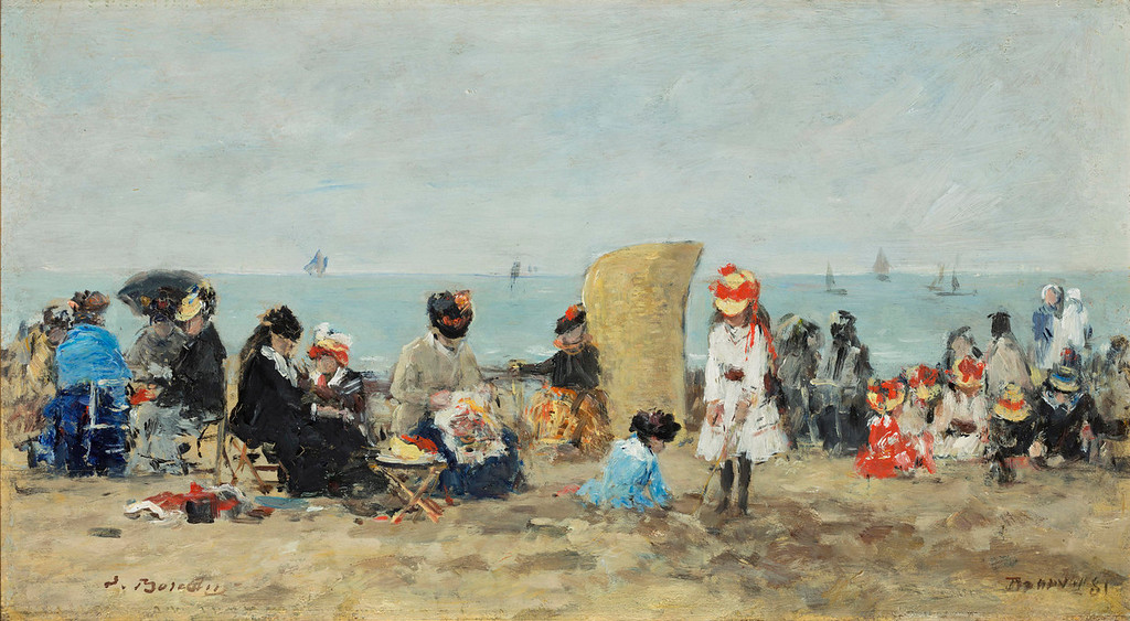 ". Eugene Boudin, ""Scene at the Beach in Trouville,\"" 1881.