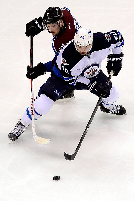 . John Mitchell (7) of the Colorado Avalanche defends Devin Setoguchi (40) of the Winnipeg Jets during the second period of action.   (Photo by AAron Ontiveroz/The Denver Post)