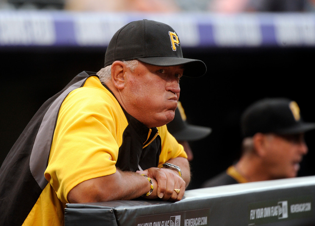 . DENVER, CO. - AUGUST 09: Pirates manager Clint Hurdle saw his team get off to a rough start against the Rockies Friday night. The Colorado Rockies hosted the Pittsburgh Pirates Friday night, August 9, 2013. Photo By Karl Gehring/The Denver Post