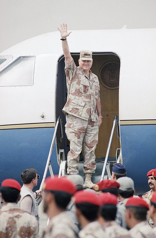 . Commander of the U.S. Forces in the Gulf General H. Norman Schwarzkopf waves goodbye when boarding his plane in Riyadh on Saturday, April 20, 1991. Schwarzkopf is leaving Saudi Arabia definitively and is on his way to Tampa, Florida. (AP Photo/Peter Dejong)