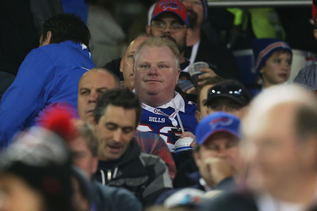 . Toronto Mayor Rob Ford watches the Buffalo Bills NFL game against the Atlanta Falcons at Rogers Centre on December 1, 2013 in Toronto, Ontario. (Photo by Tom Szczerbowski/Getty Images)