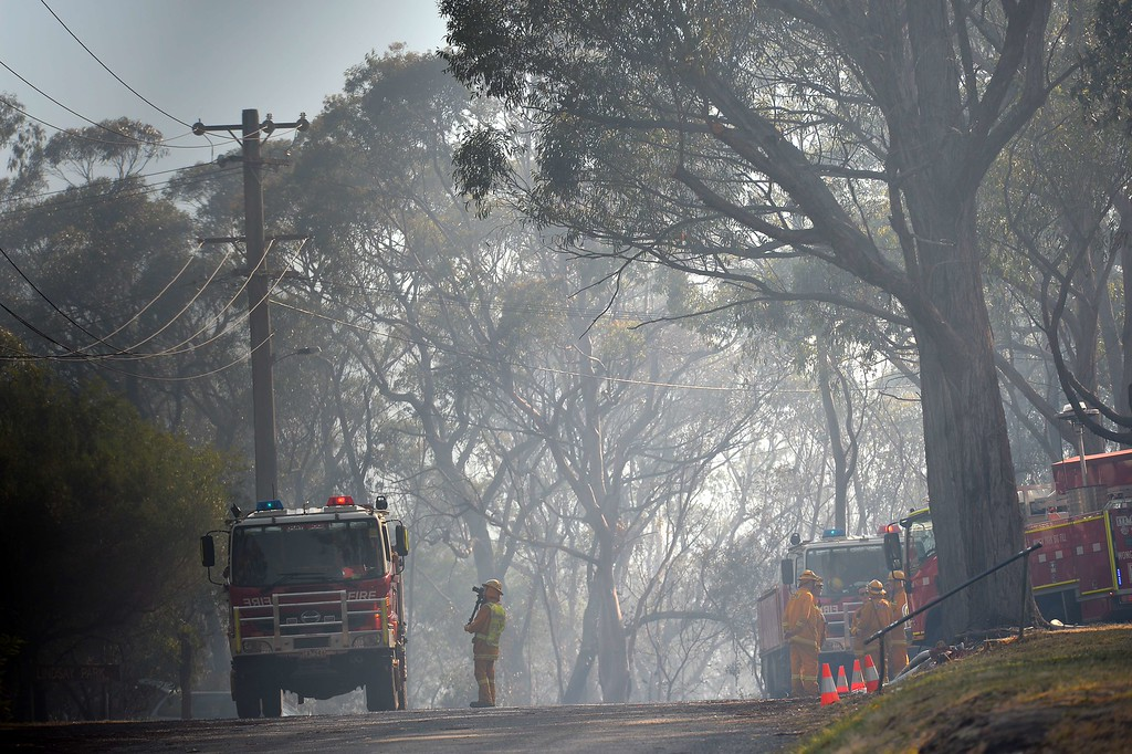 . Firefighters are pictured along a neighborhood street following a bush fire near Faulconbridge in the Blue Mountains on October 23, 2013.  Firefighters in Australia battled hot, dry winds and soaring temperatures as new blazes began breaking out in a week-long bushfire disaster that shows no signs of easing. AFP PHOTO / Saeed KHAN/AFP/Getty Images