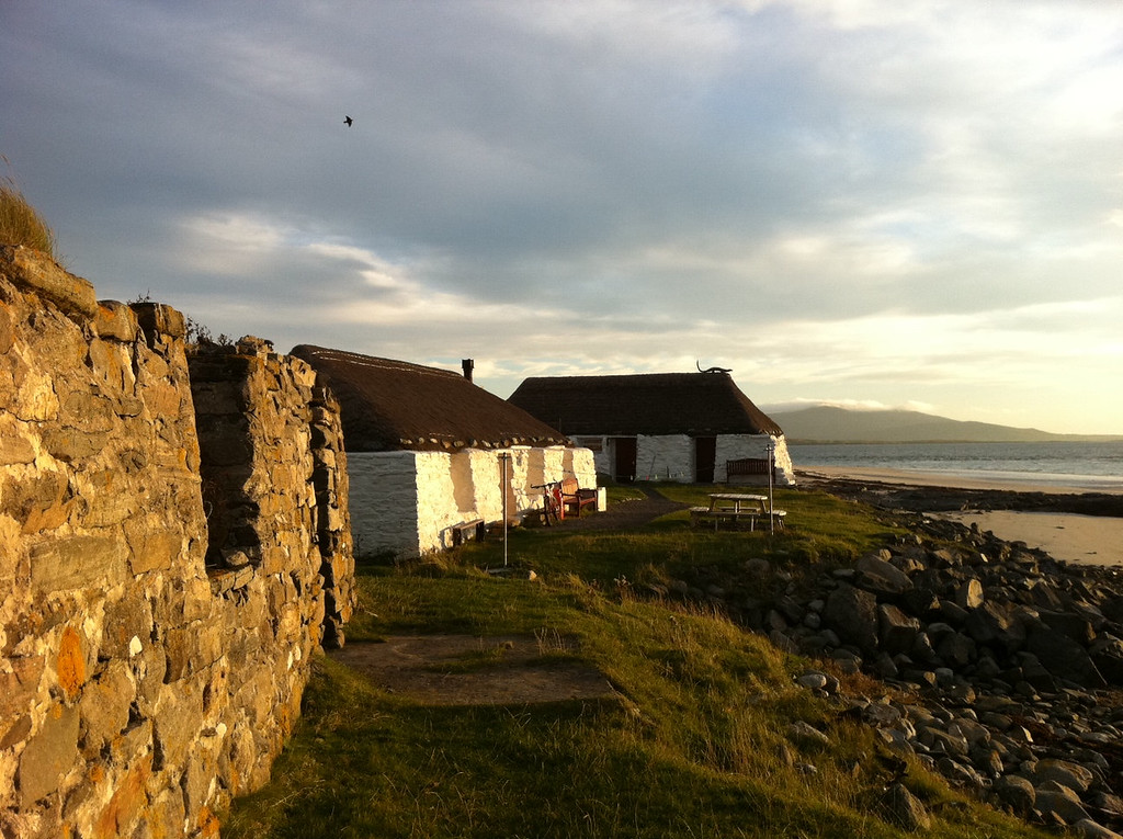 . This October 2013 photo shows the Gatliff Trust-run hostel on the island of Berneray, Scotland. The hostel is steps from the sea, and from crumbling farmhouses called crofting houses. A marked trail nearby allows an easy day hike around the tiny island. (AP Photo/Cara Anna)
