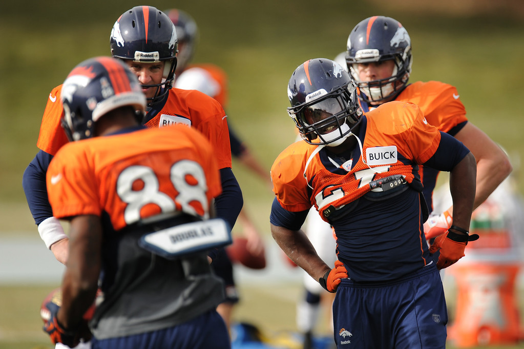 . Denver Broncos quarterback Peyton Manning #18 and  running back Knowshon Moreno #27 during Broncos practice for their coming game against the Tampa Bay Buccaneers at Dove Valley in Denver Colorado Wednesday, November 28,  2012.    Joe Amon, The Denver Post