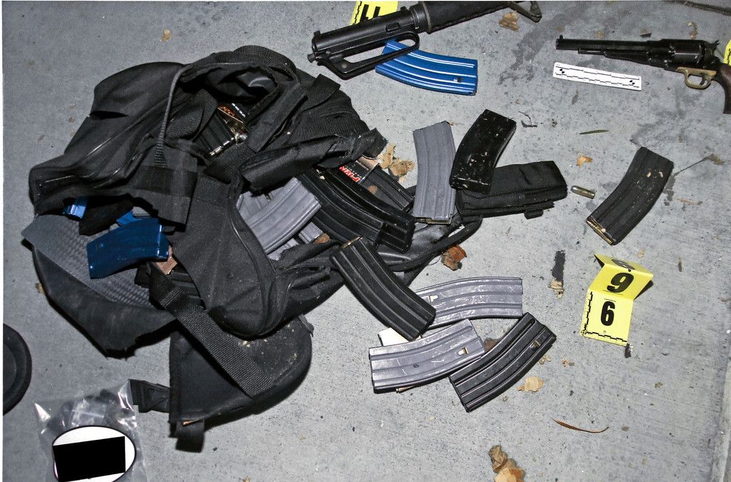 . An evidence photo showing a bag and cartridge magazines is among several new evidence photos of the June 9 shooting rampage by John Zawahri that were released by the Santa Monica, Calif.,  Police Department at a news conference, Thursday, June 13, 2013. (AP Photo/Santa Monica Police)