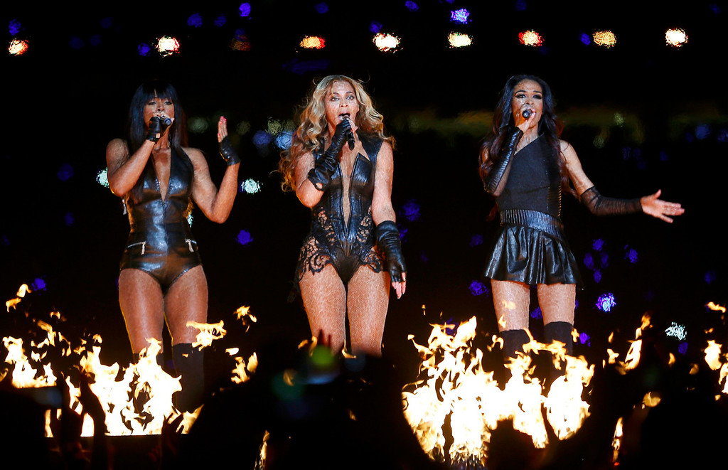 . Beyonce (C) and Destiny\'s Child perform during the half-time show of the NFL Super Bowl XLVII football game in New Orleans, Louisiana, February 3, 2013.  REUTERS/Jeff Haynes