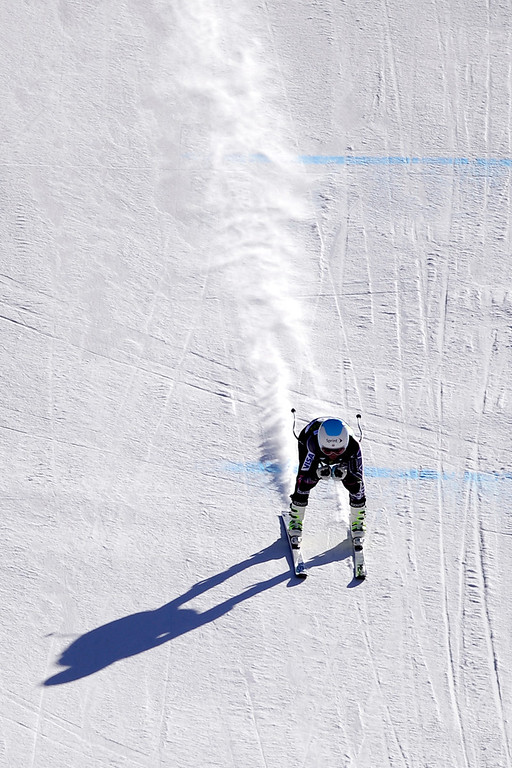. U.S. skier Julia Mancuso tucks on the final straight of her training run.  (Photo by AAron Ontiveroz/The Denver Post)