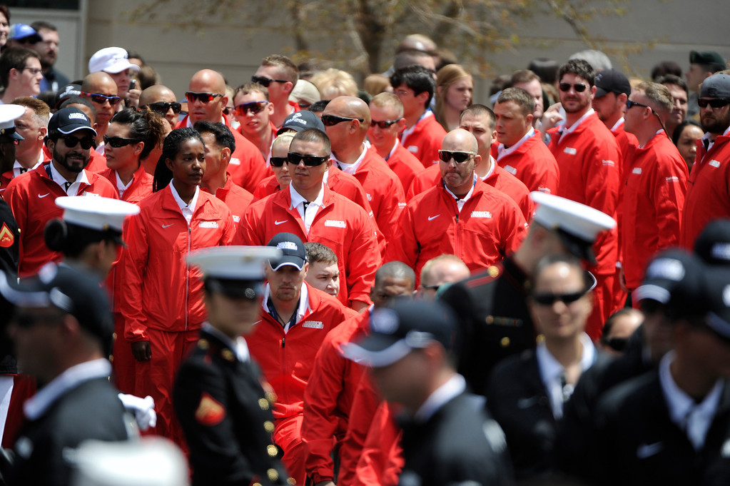 . COLORADO SPRINGS, CO - MAY 11: United States Marine Corp athletes arrive for the 2013 Warrior Games opening ceremonies at the United States Olympic Training Center  Saturday afternoon, May 11th, 2013.(Photo By Andy Cross/The Denver Post)