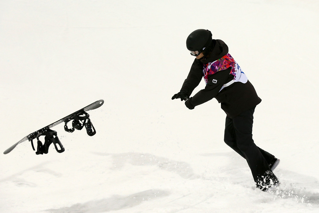 . Iouri Podladtchikov of Switzerland reacts after competing in the Snowboard Men\'s Halfpipe Finals on day four of the Sochi 2014 Winter Olympics at Rosa Khutor Extreme Park on February 11, 2014 in Sochi, Russia.  (Photo by Cameron Spencer/Getty Images)