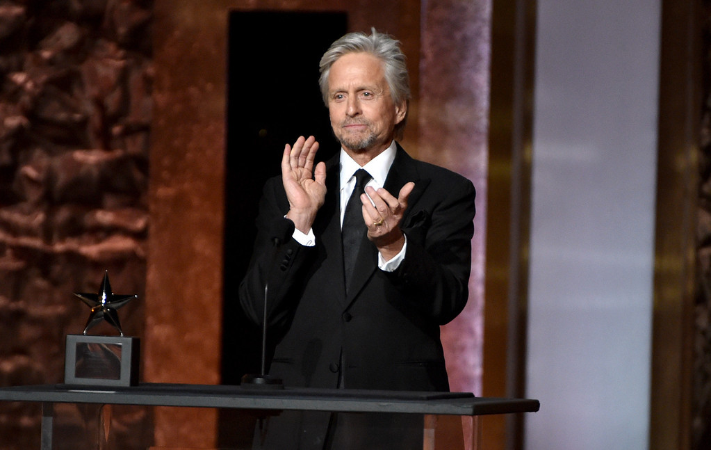 . Michael Douglas presents the AFI Lifetime Achievement Award to Jane Fonda at the 42nd AFI Lifetime Achievement Award Tribute Gala at the Dolby Theatre on Thursday, June 5, 2014, in Los Angeles. (Photo by John ShearerInvision/AP)