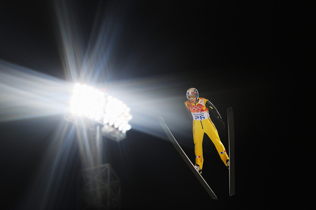 . SOCHI, RUSSIA - FEBRUARY 08: Ronan Lamy Chappuis of France jumps during the Men\'s Normal Hill Individual Qualification on day 1 of the Sochi 2014 Winter Olympics at the RusSki Gorki Ski Jumping Center on February 8, 2014 in Sochi, Russia.  (Photo by Lars Baron/Getty Images)