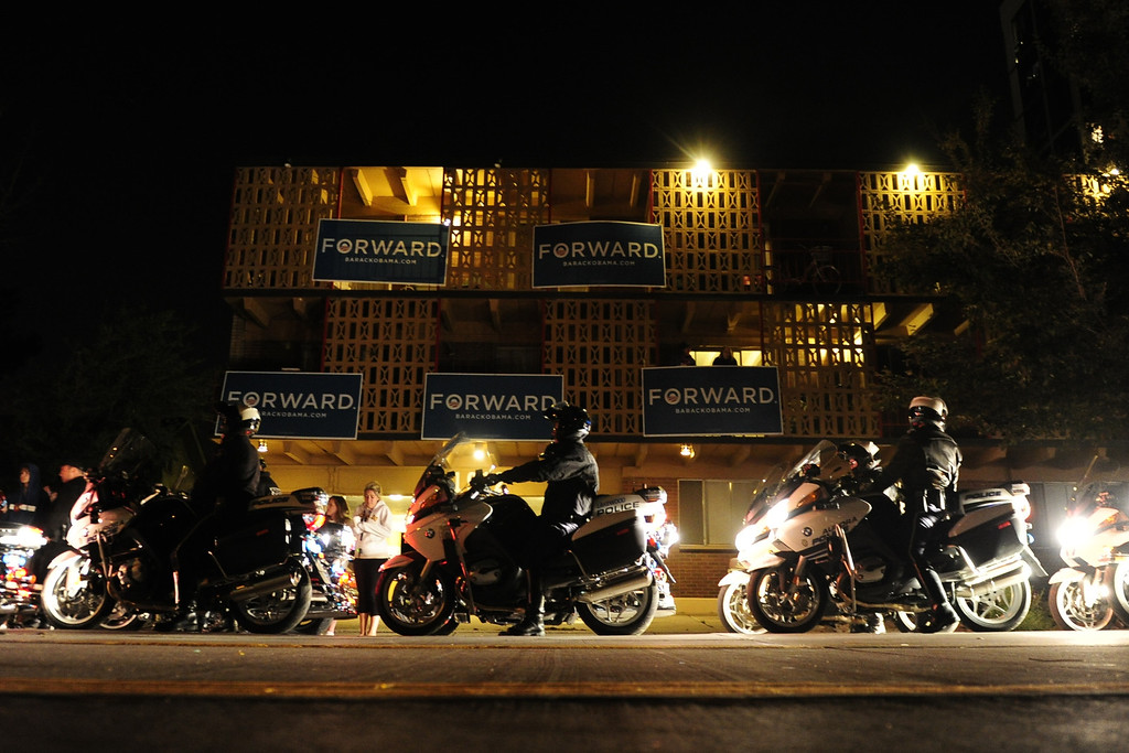. Police line up to escort President Obama following the Presidential Debate at the University of Denver on Wednesday, October 3, 2012. AAron Ontiveroz/The Denver Post