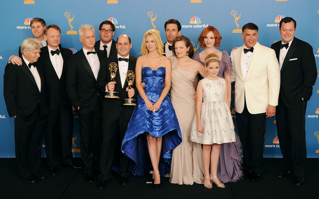 ". ""Mad Men\"" cast and crew members, winners of the Outstanding Drama Series Award pose in the press room at the 62nd Annual Primetime Emmy Awards held at the JW Marriott Los Angeles at L.A. Live on August 29, 2010 in Los Angeles, California. (Photo by Jason Merritt/Getty Images)"