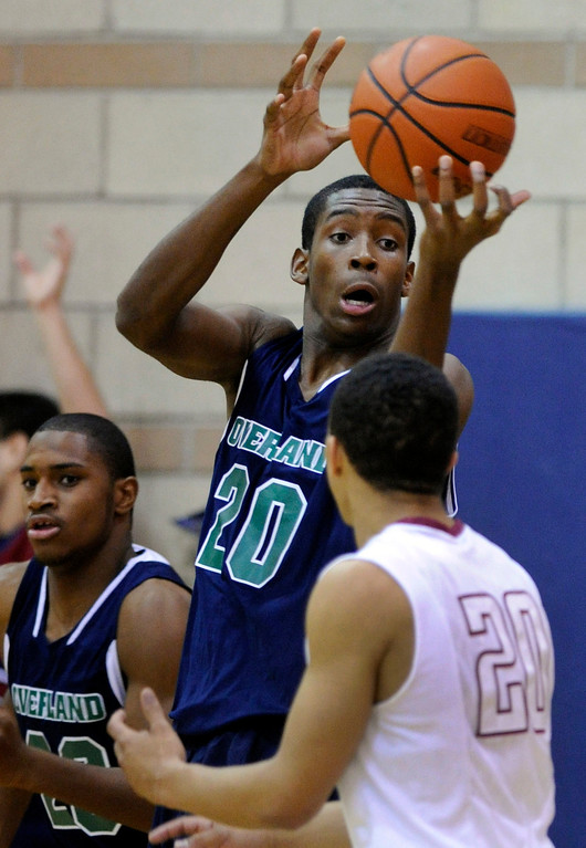 . Trailblazers big man De\'Ron Davis (20) secured a rebound in the second half. The Cherokee Trail boy\'s basketball team defeated Overland 59-57 Friday night, January 11, 2013. Karl Gehring/The Denver Post