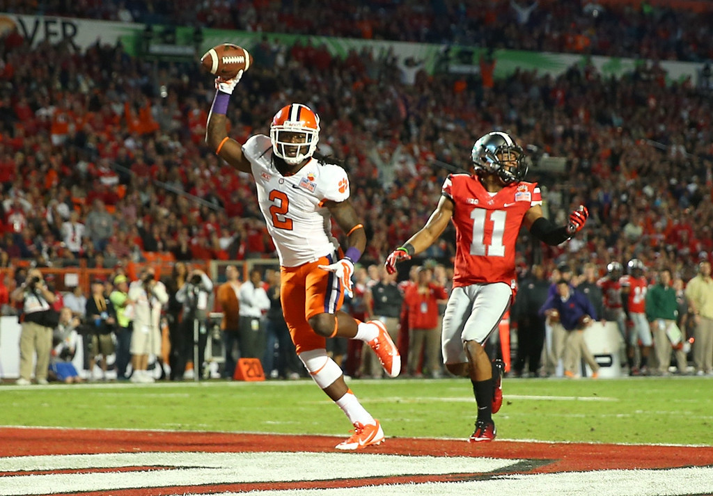 . MIAMI GARDENS, FL - JANUARY 03:  Sammy Watkins #2 of the Clemson Tigers celebrates after scoring a touchdown in the first quarter against Vonn Bell #11 Ohio State Buckeyes during the Discover Orange Bowl at Sun Life Stadium on January 3, 2014 in Miami Gardens, Florida.  (Photo by Mike Ehrmann/Getty Images)