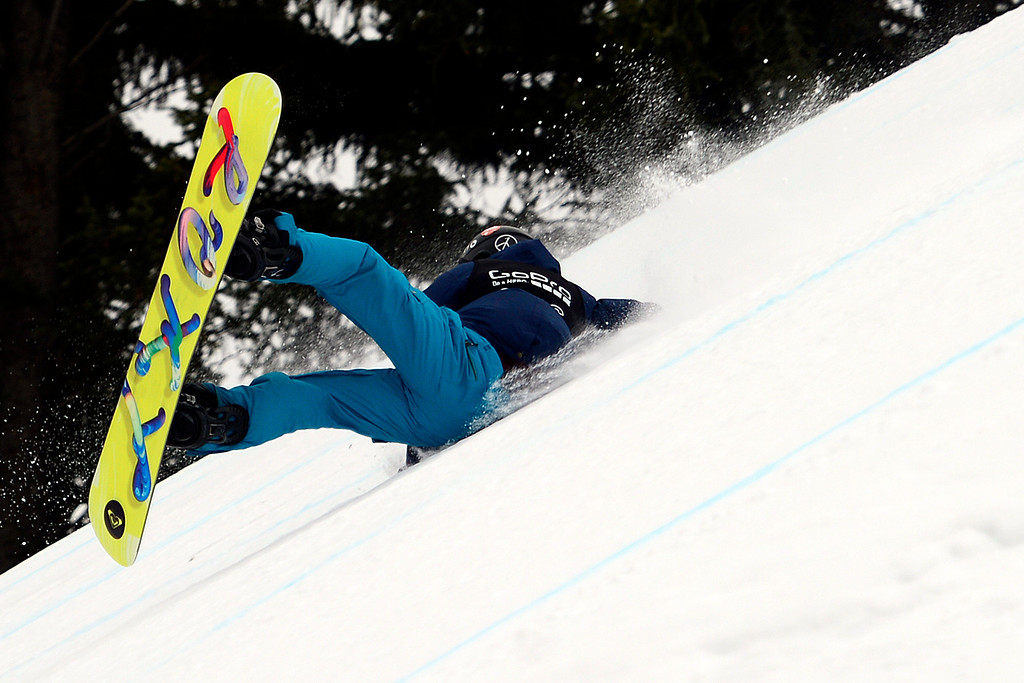 . ASPEN, CO - JANUARY 26: Kjersti Oestgaard Buaas wrecks during the women\'s snowboard slopestyle final. X Games Aspen Buettermilk Mountain Aspen January 26, 2013 (Photo By AAron Ontiveroz / The Denver Post)