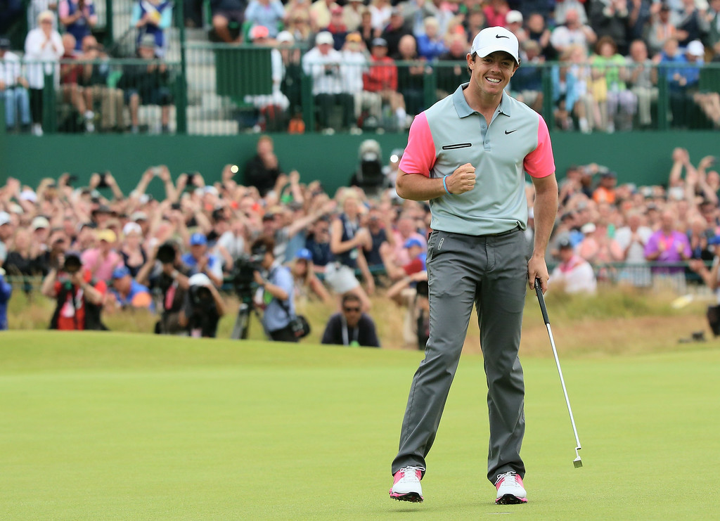 . Rory McIlroy of Northern Ireland celebrates his two-stroke victory on the 18th green during the final round of The 143rd Open Championship at Royal Liverpool on July 20, 2014 in Hoylake, England.  (Photo by Andrew Redington/Getty Images)