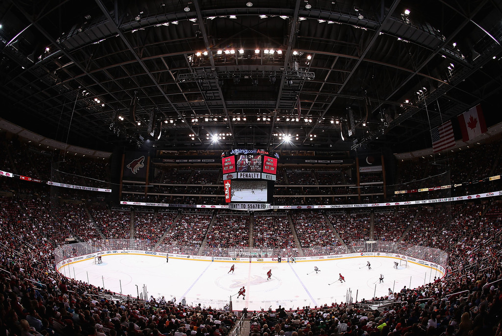 . GLENDALE, AZ - APRIL 26:  General view of action between the Phoenix Coyotes and the Colorado Avalanche during the NHL game at Jobing.com Arena on April 26, 2013 in Glendale, Arizona.  (Photo by Christian Petersen/Getty Images)