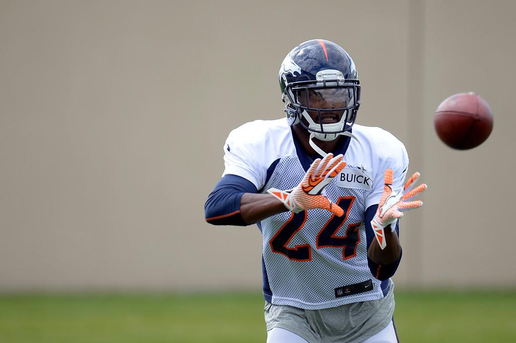 . Denver Broncos cornerback Champ Bailey (24) back at practice September 19, 2013 at Dove Valley. (Photo by John Leyba/The Denver Post)