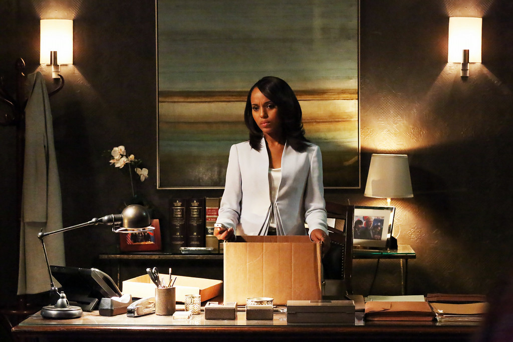 ". This undated publicity photo released by ABC shows Kerry Washington as Olivia Pope in a scene from ""Scandal.\""  Washington was nominated for an Emmy Award for best actress in a drama series on, Thursday July 10, 2014. The 66th Primetime Emmy Awards will be presented Aug. 25 at the Nokia Theatre in Los Angeles. (AP Photo/ABC, Richard Cartwright)"