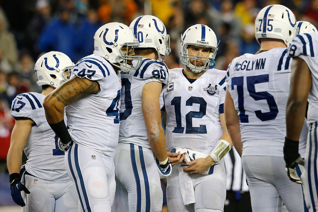 . FOXBORO, MA - JANUARY 11:   Andrew Luck #12 of the Indianapolis Colts looks on against the New England Patriots during the AFC Divisional Playoff game at Gillette Stadium on January 11, 2014 in Foxboro, Massachusetts.  (Photo by Jim Rogash/Getty Images)