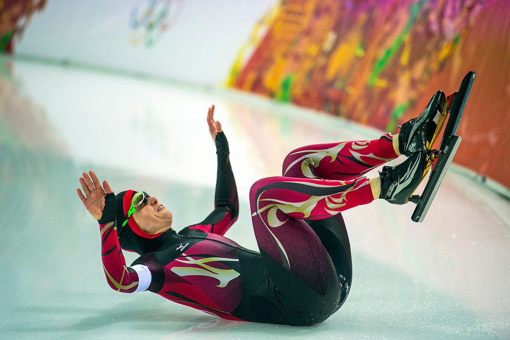 . Germany\'s Monique Angermüller falls while competing in the women\'s 1,000 meter speed skating race at Adler Arena Skating Center in the during the 2014 Sochi Olympics Thursday February 13, 2014. 