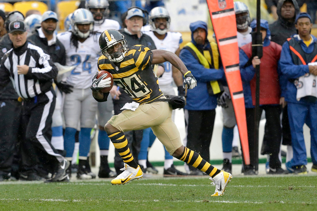 . Pittsburgh Steelers wide receiver Antonio Brown (84) runs past the Detroit Lions\' sideline on his way to a first-quarter touchdown in an NFL football game in Pittsburgh, Sunday, Nov. 17, 2013. (AP Photo/Gene J. Puskar)