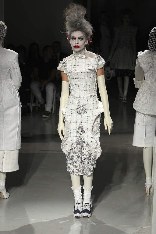 . A model walks the runway at Thom Browne Women\'s fashion show during Mercedes-Benz Fashion Week Spring 2014 at Center 548 on September 9, 2013 in New York City.  (Photo by Joe Kohen/Getty Images)