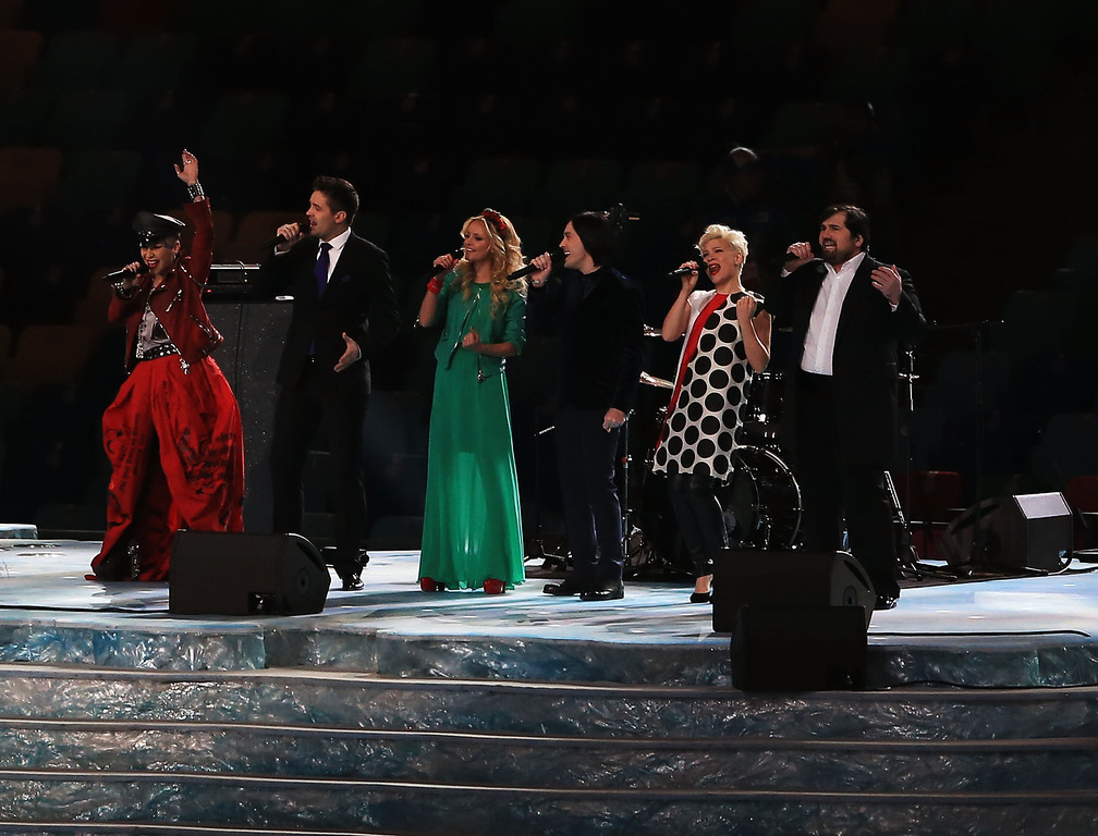 ". Singers from ""The Voice\"" Russia perform during the Opening Ceremony of the Sochi 2014 Winter Olympics at Fisht Olympic Stadium on February 7, 2014 in Sochi, Russia.  (Photo by Richard Heathcote/Getty Images)"