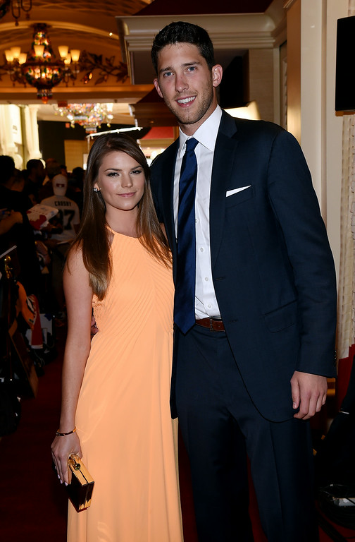 . Ben Bishop of the Tampa Bay Lightning and guest arrive on the red carpet prior to the 2014 NHL Awards at Encore Las Vegas on June 24, 2014 in Las Vegas, Nevada.  (Photo by Ethan Miller/Getty Images)