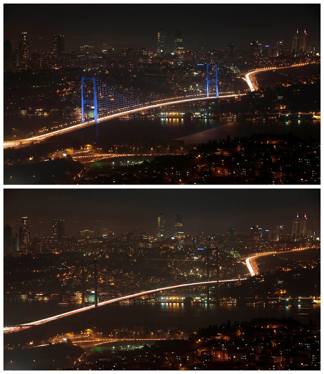 . A combination photo shows the Bosphorus Bridge that links the city\'s European and Asian sides, with the European side in the background, is seen before (top) and during Earth Hour in Istanbul March 23, 2013. Earth Hour, when everyone around the world is asked to turn off lights for an hour from 8.30 p.m. local time, is meant as a show of support for tougher action to confront climate change. REUTERS/Murad Sezer