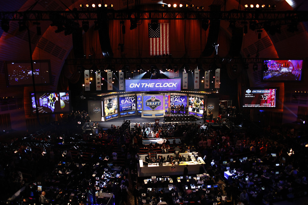 . Introductions begin to the start of the first round of the 2014 NFL Draft at Radio City Music Hall on May 8, 2014 in New York City.  (Photo by Cliff Hawkins/Getty Images)