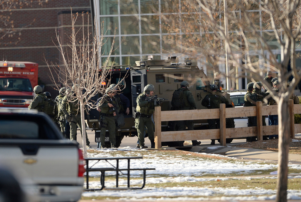 . CENTENNIAL, CO - DECEMBER 13: A gunman opened fire at Arapahoe High School, December 13, 2013. One student was critically wounded. (Photo by RJ Sangosti/The Denver Post)