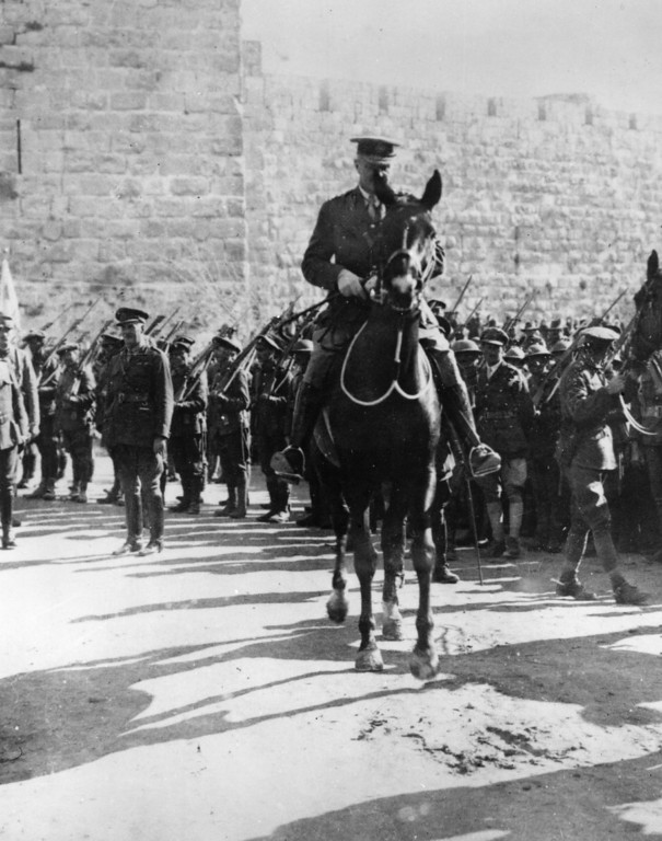 . 11th December 1917:  British general, E H H Allenby, riding away from Jaffa Gate in Jerusalem, after his formal entry on foot into the Sacred City.  (Photo by Hulton Archive/Getty Images)