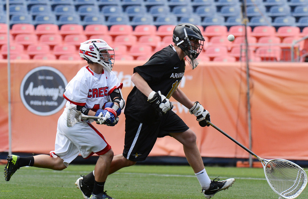 . DENVER, CO. - MAY 18 : Henry Adams of Cherry Creek High School (42), left, steal the ball from Ryan Smith of Arapahoe High School during 5A Boy\'s Lacrosse Championship game at Sports Authority Field at Mile High Stadium. Denver, Colorado. May 18, 2013. Arapahoe won 10-7. (Photo By Hyoung Chang/The Denver Post)