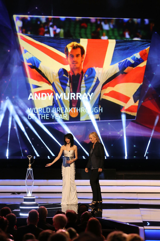 """. Actress Maggie Cheung with Laureus Academy Member Martina Navratilova announce Andy Murray as the winner of \""""Laureus World Breakthrough of the Year\"""" during the awards show for the 2013 Laureus World Sports Awards at the Theatro Municipal Do Rio de Janeiro on March 11, 2013 in Rio de Janeiro, Brazil.  (Photo by Ian Walton/Getty Images For Laureus)"""