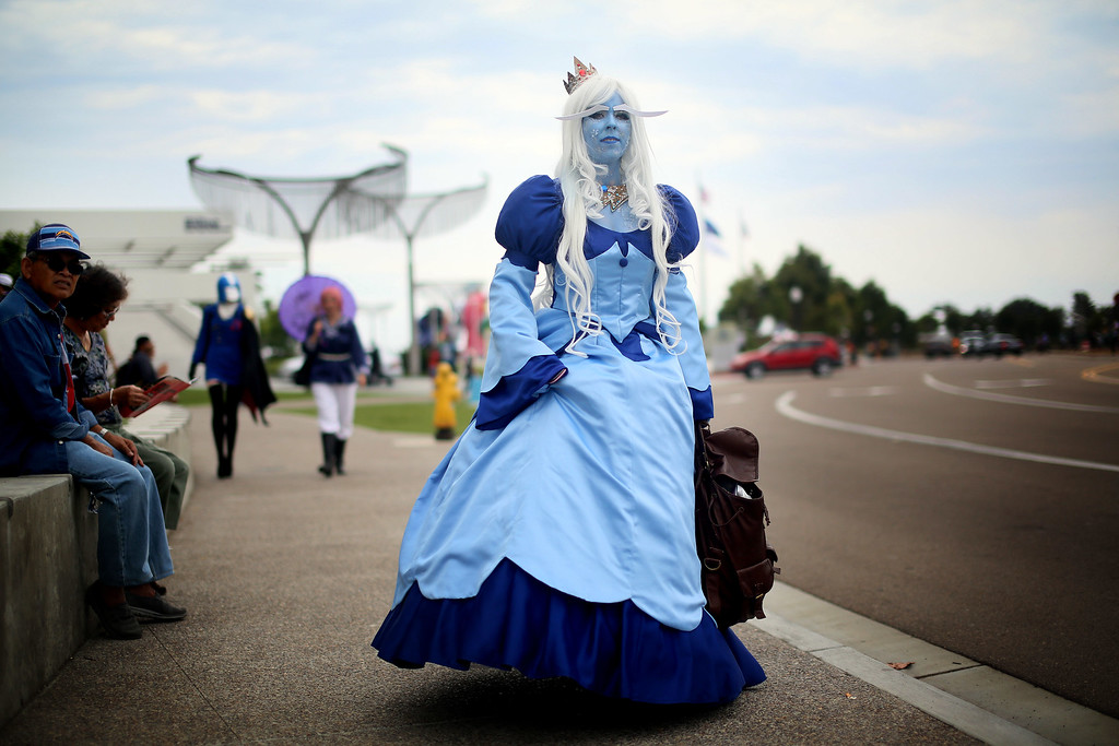 . SAN DIEGO, CA - JULY 19: Amanda King wears an Ice Queen costume during Comic Con on July 19, 2013 in San Diego, California.  The Comic Con International Convention is the world\'s largest comic and entertainment event and hosts celebrity movie panels, a trade floor with comic book, science fiction and action film-related booths, as well as artist workshops and movie premieres. (Photo by Sandy Huffaker/Getty Images)