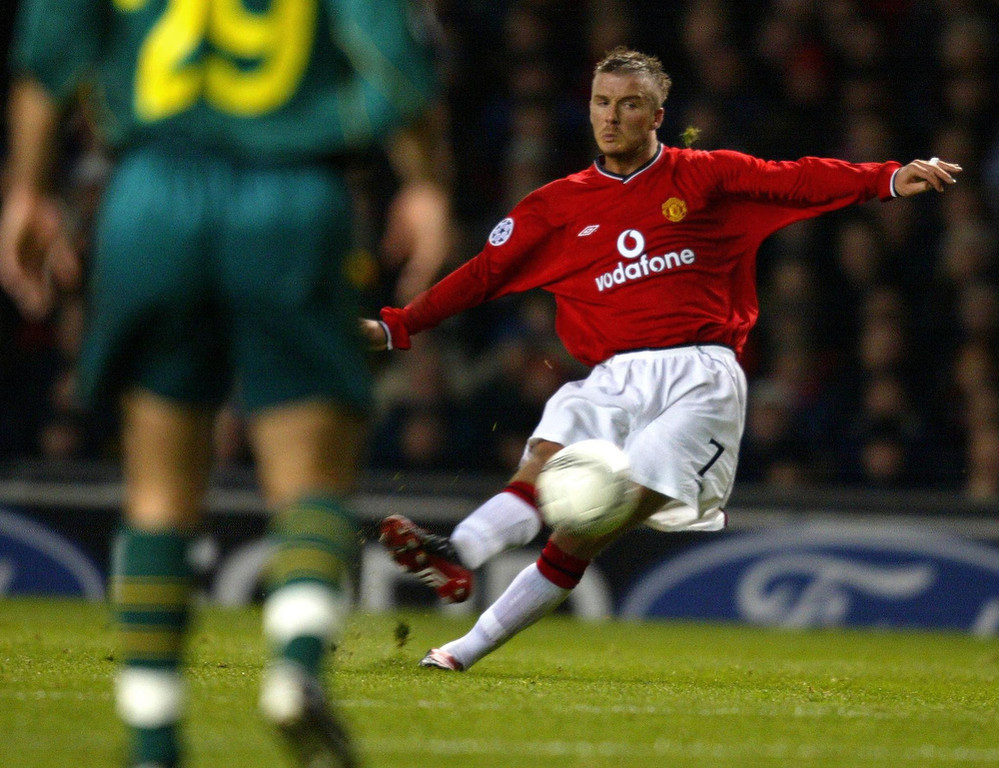 . In this file picture taken on February 26, 2002 Manchester United\'s David Beckham hits a free kick to score an equalizer against Nantes during a phase two group A champions league match at Old Trafford in Manchester.  ODD ANDERSEN/AFP/Getty Images