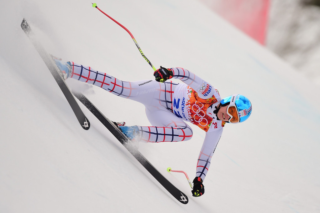 . Czech Republic\'s Klara Krizova competes during the Women\'s Alpine Skiing Super Combined Downhill at the Rosa Khutor Alpine Center during the Sochi Winter Olympics on February 10, 2014.           AFP PHOTO / FABRICE COFFRINI/AFP/Getty Images
