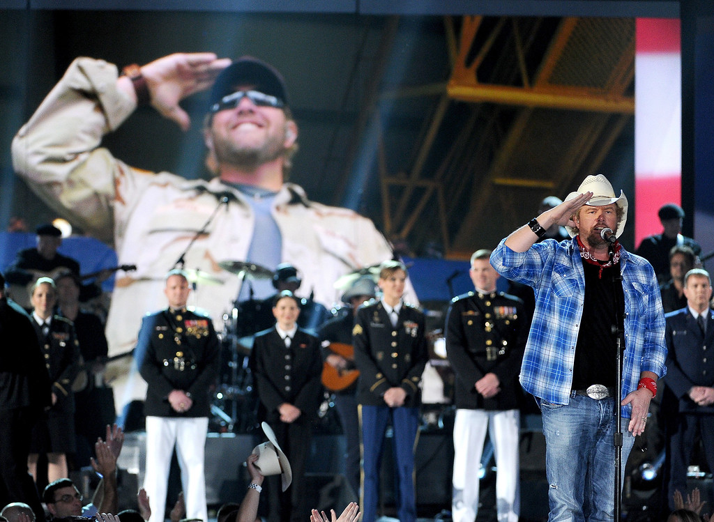 . Toby Keith performs at ACM Presents an All-Star Salute to the Troops on Monday, April 7, 2014, in Las Vegas. (Photo by Chris Pizzello/Invision/AP)