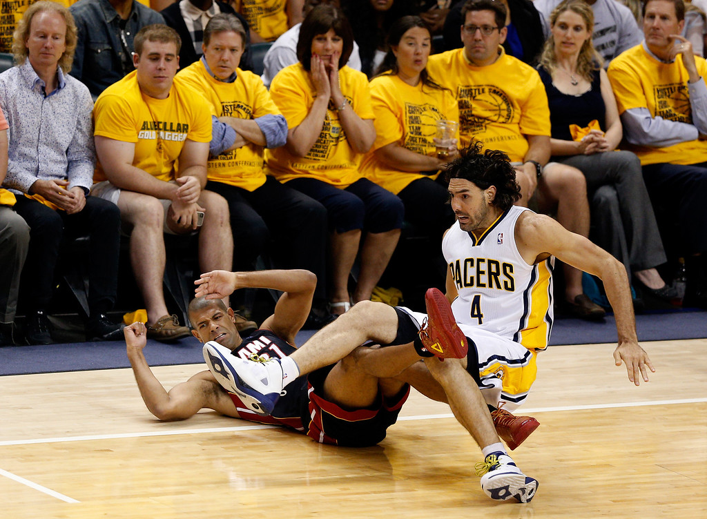 . INDIANAPOLIS, IN - MAY 28:  Shane Battier #31 of the Miami Heat and Luis Scola #4 of the Indiana Pacers collide during Game Five of the Eastern Conference Finals of the 2014 NBA Playoffs at Bankers Life Fieldhouse on May 28, 2014 in Indianapolis, Indiana.  (Photo by Joe Robbins/Getty Images)