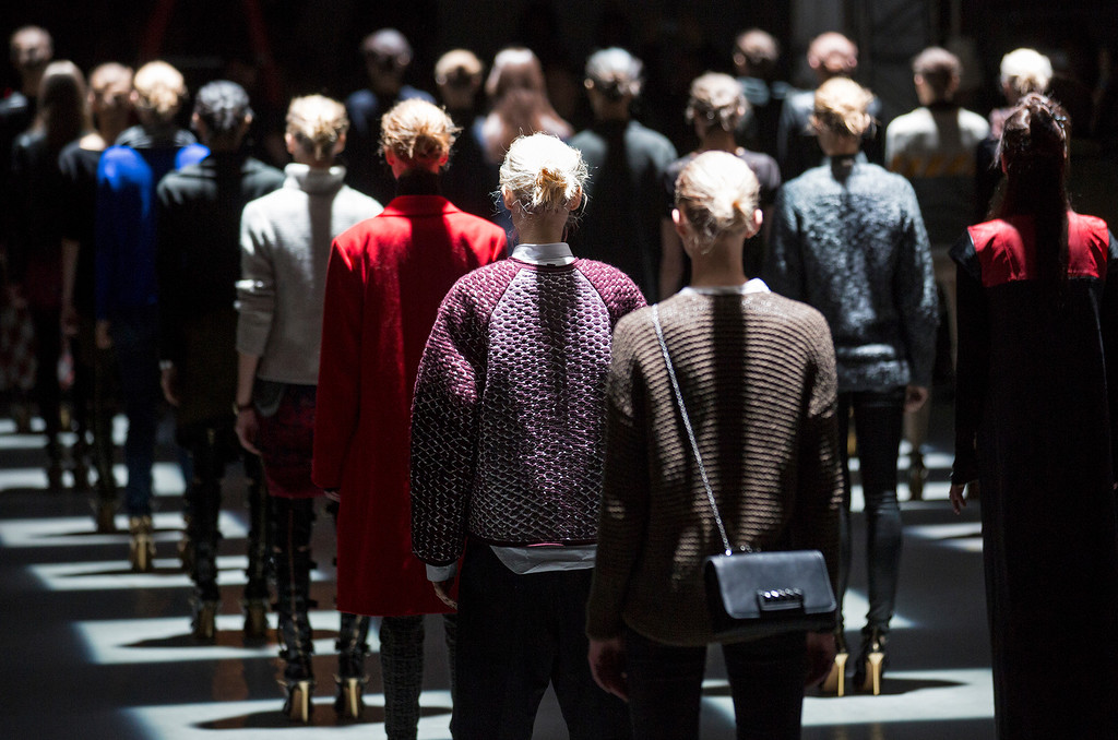 . Models rehearse on the runway at the presentation of the Prabal Gurung Fall 2013 fashion collection during Fashion Week, Saturday, Feb. 9, 2013, in New York. (AP Photo/Craig Ruttle)