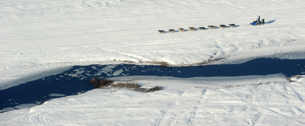 . A musher drives his dog team past some open water just after the start of the 2014 Iditarod Trail  Sled Dog Race out of Willow, Alaska, Sunday, March 2, 2014. The race will take mushers nearly a thousand miles to the finish line in Nome, on Alaska\'s western coast. (AP Photo/Anchorage Daily News, Bob Hallinen)