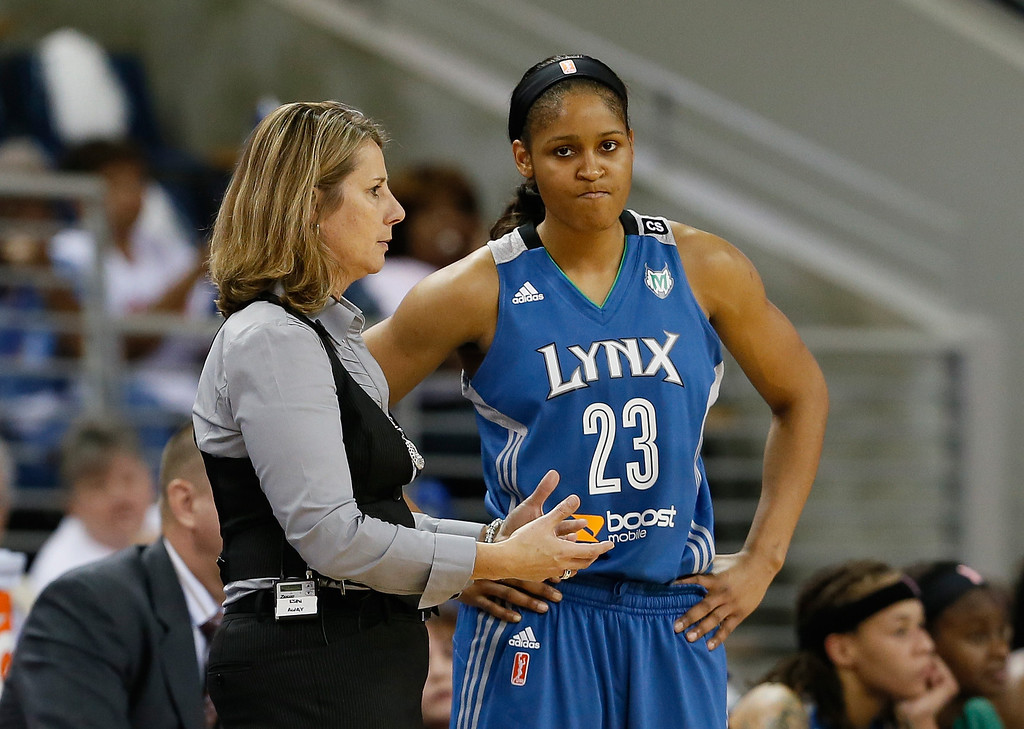 . ATLANTA, GA - OCTOBER 10:  Head coach Cheryl Reeve of the Minnesota Lynx converses with Maya Moore #23 against the Atlanta Dream during Game Three of the 2013 WNBA Finals at Philips Arena on October 10, 2013 in Atlanta, Georgia.   (Photo by Kevin C. Cox/Getty Images)