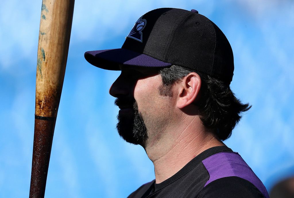 . Todd Helton #17 of the Colorado Rockies warms up during batting practice before MLB game action against the Toronto Blue Jays on June 19, 2013 at Rogers Centre in Toronto, Ontario, Canada. (Photo by Tom Szczerbowski/Getty Images)